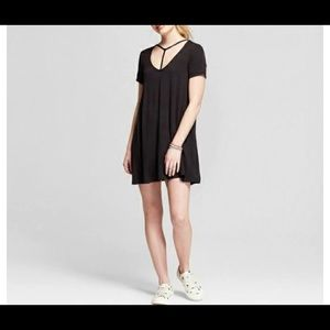 T shirt dress with T strap scoop neck detail